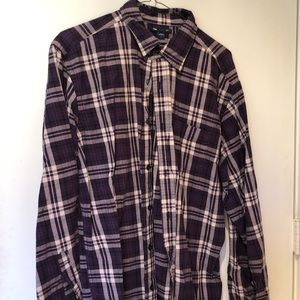 Purple plaid flannel LS shirt